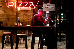 Late Night Slice (Someone's Name) Tags: pizza slice nyc newyork newyorkcity brooklyn street streetphotography man eating helpwanted tray pepper stool