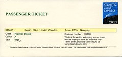 00g Premier Dining passenger ticket. Cathedrals Express img272 (Clementinos2009) Tags: premierdiningpassengerticket 2011atlanticcoastexpresslondontonewquay4th6thseptember cathedralsexpress steamdreams