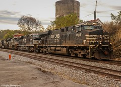 NS 15T west bound by the Bulls Gap Railroad Museum in the young morning light. (Railroad Gal) Tags: norfolksouthern ns15t railroad railfans femalerailfan railfan bullsgaptn bullsgaprailroadmuseum nsaline gevo ns7502 es40dc ge diesellocomotives train traindepot trainphotography