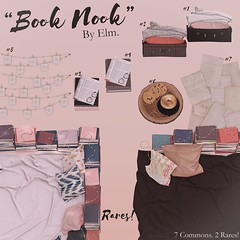"""Elm. """"Book Nook"""" Gacha for Equal10 (Ella Spacejam) Tags: equal10 equal 10 elm elmsl second life secondlife sl book reading nook floor blanket books coffee journal photo string cookies latte paper papers suitcase blankets luggage chill cozy decor decorate virtual digital"""