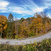 October in Western Pennsylvania (wx412) Tags: cheswick pennsylvania unitedstatesofamerica pano panoramic panorama fall leaves autumn roads bendy curves sky clouds blue green orange bright day