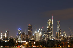By the lake (Paul Threlfall) Tags: melbourne albertparklake night city lights sky clouds towers longexposure
