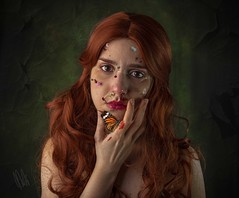 """""""Flowers are also born from wounds"""" (DianaRubi) Tags: conceptualart fineartphotography flowers butterfly redhair artphotography portrait woman wounds"""