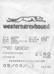 62b Western Greyhound bus ticket img276 (Clementinos2009) Tags: 2011atlanticcoastexpresslondontonewquay4th6thseptember cathedralsexpress steamdreams westerngreyhound