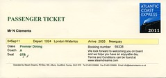 00g Premier Dining passenger ticket. Cathedrals Express img272 (Clementinos2009) Tags: 2011atlanticcoastexpresslondontonewquay4th6thseptember cathedralsexpress steamdreams