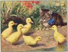 illustratie kat en eendjes  j 20 (janwillemsen) Tags: cat ducks watercolour illustration 1920ies