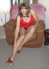 red dress pee-a-boo 1 (3) (ericaklein8) Tags: tgirl transgender legs shoes heels panties stockings nylons sit miniskirt breasts clevage hot fetish pantyhose boobs sitting flashing heel grab tv tranny skirt td