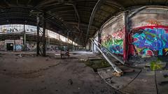 Werkhalle 3 (Panasonikon) Tags: panorama graffiti fabrik fisheye panasonic lostplaces walimex75 panasonikon dmcg81 industry ruine industrie verfall niedergang