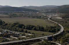 View of the road (Alexander Oleynik) Tags: view landscape mountains field bridge road baumes river cars curve ландшафт вид поле горы мост деревья дорога авто река