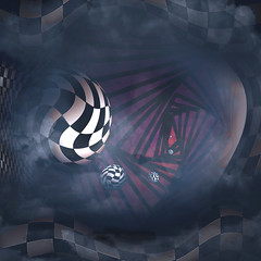 SUb 9 (1withone) Tags: photoart dyke abbstact clouds squares fog space sphere checkered