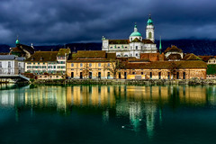 St. Ursen-Kathedrale Solothurn (sylviafurrer) Tags: kirche kathedrale church cathedral wolkenstimmung cloudy clouds fluss aare river city stadt spiegelung reflection solothurn