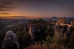 bastei (hang five) Tags: sunrise elbsandsteingebirge felsen sonnenaufgang sächsischeschweiz saxonswitzerland elbesandstonemountains rocks basteibrücke basteibridge