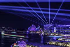 sydney vivid (Greg M Rohan) Tags: blue laserbeams laser lasers ferries boats traillights color colour longexposure nightlights nightphotography lights skyline cityscape sydneyoperahouse water operahouse sydneyharbour sydneycity sydney australia vividfestival vivid d750 109 nikon nikkor