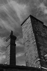 Upwards (WorcesterBarry) Tags: blackwhite bnw blackandwhite buildings outdoors old places photographers lovebw light monochrome street streetphotography streetphoto shadows sky whisky clouds structure bricks