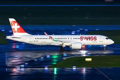 HB-JCP Swiss Airbus A220-300 (CSeries CS300) (buchroeder.paul) Tags: eddl dus dusseldorf düsseldorf international airport flughafen deutschland germany europa europe external night nacht ground boden hbjcp swiss airbus a220300 cseries cs300