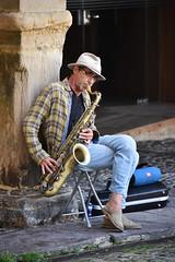 Saxo en Comillas (Kasabox) Tags: people persona musica music saxo relax comillas cantabria españa spain sombrero hat