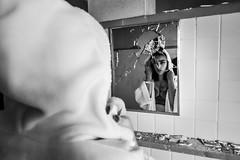 Lexi-146 (TheseusPhoto) Tags: girl female woman model modeling portrait portraiture artportrait artistic artisticportrait fineartportrait fineart light pose beautiful pretty lovely bnw blackandwhite blancoynegro monochrome noir mirror reflection dark scary shattered broken smashed morbid hood shawl glamour bra lingerie cleavage sexy look abandoned