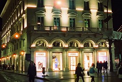 Roma (goodfella2459) Tags: nikonf4 afnikkor50mmf14dlens cinestill800t 35mm c41 film analog night color roma italy colour city streets rome light manilovefilm pedestrians shops