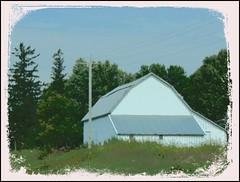 White Barn...HSS (novice09) Tags: slidersunday hss barn countryside rural wisconsin befunky ipiccy painterly digitalartpainting