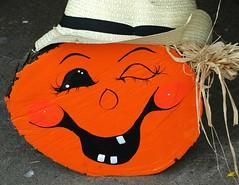 Smile! (e r j k . a m e r j k a) Tags: autumn figure smile pumpkin crafts handmade handpainted whimsy halloween fall i79pa pennsylvania bradfordwoods erjk