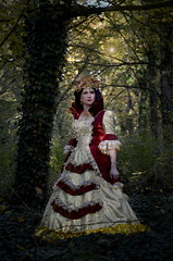 Queen of Autumn (blackietv) Tags: gold red lace dress gown princess queen crown crossdresser tgirl crossdressing transgender outside outdoor