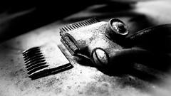 Old school haircut (vale0065) Tags: hairclipper tondeuse tool vintage antiek antique gereedschap kapper hairdresser antwerpen antwerp belgium belgië kattendijkdok hair haar haren knippen cutting haircut snit coupe haarsnit rust rusty roest roestig bw monochrome monochroom zwartwit blackwhite