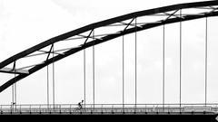 Schellingwouderbrug (heinzkren) Tags: brücke bridge schwarzweis blackandwhite biancoetnero noiretblanc monochrome biker radfahrer sport amsterdam panasonic lumix urban architecture architektur street streetphotography
