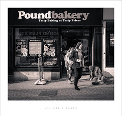 All for a pound (Parallax Corporation) Tags: orchardstreet blackwhite poundbakery streetlife drunk shopping fastfood sony35mmf18 sonya7r4 streetphotography livingonthestreets lancashire vagrant sleepingrough preston