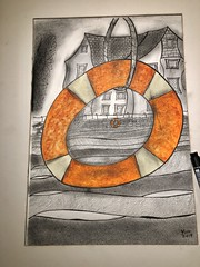 Buoys will be buoys ? (jeff.hill46) Tags: totnes charcoal watercolour ink abstractartwork riverdart buoys