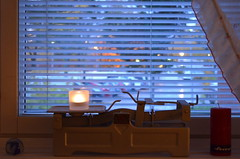 """""""Light on Scale"""" (Seppo53) Tags: scale light window setting candle impression curtain venetianblind view autumn evening vintage"""