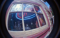 Open (Crusty Da Klown) Tags: kootenays sandon ghosttown bc britishcolumbia canada lomo lomography lofi film kodak fisheye camera lens sign window open building summer