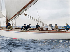 Fo134107Svanevit-2 (frankmh) Tags: boat yacht sailingboat 1930s sweden vintage colorization
