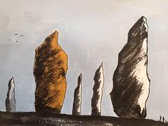"""Serie """"Les Menhirs"""" (J-M.I) Tags: aquarelle art house architecture garonne 31 watercolour aveyron 12 dessin illustration graphisme aubrac vines artiste exposition crayons de couleur encre chine menhirbretagnegranit"""