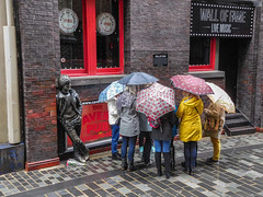 What about my umbrella? (Philip Brookes) Tags: johnlennon lennon statue umbrella tourist mathewstreet liverpool merseyside city cavern beatles walloffame