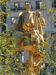 2019 General Sherman Civil War Statue gold leaf 6070 (Brechtbug) Tags: 2019 general sherman civil war statue gold leaf profile near the plaza hotel 5th avenue 59th street new york city 10192019 nyc angel wings construction roof top architecture art building american flag green bronze underneath yellow shadows afternoon
