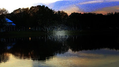 An Impasto Painting (Carol (vanhookc)) Tags: digitalprocessing photoshop sunset lake quite serenity plasticwrapeffect