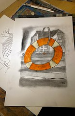 Buoys are back in town! (jeff.hill46) Tags: riverdart abstractart watercolour charcoal ink totnes