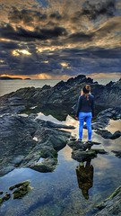 Before The Clocks Go Back 20/31 (rmrayner) Tags: seascape cornwall atlantic 2031 octoberchallenge rockpool relection crepuscularrays godrays seaside darkclouds skyscape hss