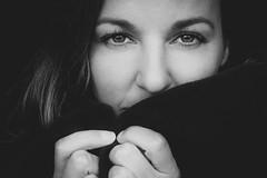 DSCF3230-6 (YouOnFoto) Tags: zwart witt black white portret portrait eyes ogen closeup dichtbij haar hair mooi beauty woman vrouw
