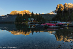 Rising Shadow (Far From Pro) Tags: emerald lake reflection yoho national park canoes landscape canada mountains