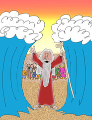 The Parting of the Red Sea Cartoon (Ivan Kaminoff) Tags: moses exodus bible israelites redsea miracle legend cartoon myth digital photoshop