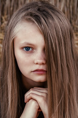 Ruslana (adriana_foto) Tags: portrait long hair one person headshot hairstyle closeup young adult women real people front view lifestyles brown beauty looking at camera blond beautiful woman contemplation human face teenager depression sadness