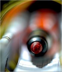 Worn Tip (jesse1dog) Tags: meyeroptikgorlitz trioplan2950mm lumixgm1 vintageprime extensiontubes tabletop bokeh wirospiral book stabiopen linedpaper cardcover brass red felt marker macromonday stationery macro