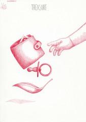 inktober: Treasure. (Klaas van den Burg) Tags: baby red bic pen inktober treasure wallet teat leaf babyarm