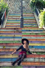 Colour My Life (sdupimages) Tags: portrait parisienne parisian montmartre girl femme beauty woman shooting model danseuse dancer street rue outdoor escalier stairs