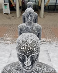 Olympic museum, Lillehammer, Norway, December 2017 (sbally1) Tags: statue winter hoarfrost frost cold olympics lillehammer norway norge