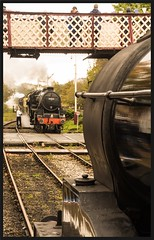 Exchange Completed. (peterdouglas1) Tags: eastlancsrly steamgalas stanierblackfive 44871 ramsbottomstation footbridges
