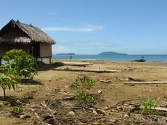 House and canoes at low tide (Joel Abroad) Tags: siboma village lowtide shoreline seashore mudflats morobeprovince papuanewguinea house canoe ulangawa biyanangutu islands