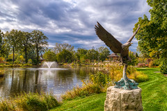 Fly like an eagle - the sequel (tquist24) Tags: elkhart hdr indiana nikon nikond5300 outdoor wellfieldbotanicalgardens art autumn clouds color colorful eagle fall fountain geotagged outside park pond reflection reflections sky statue tree trees water