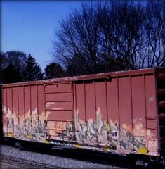(timetomakethepasta) Tags: kels freight train graffiti art snc boxcar